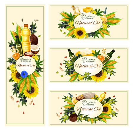 Vector banners for vegetable natural oil Ilustracja