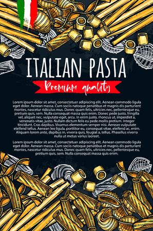 Italian pasta vector sketch premium poster  イラスト・ベクター素材