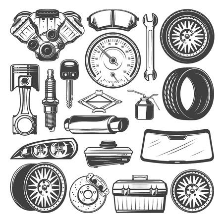 Auto-onderdelen en instrumenten vector schets set Vector Illustratie