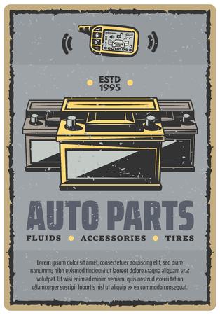 Car auto parts vector retro poster