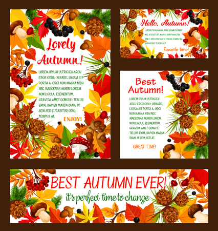 Hello Autumn banner set with fall nature frame Illustration