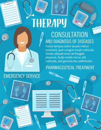 Vector medical clinic or therapy medicine poster