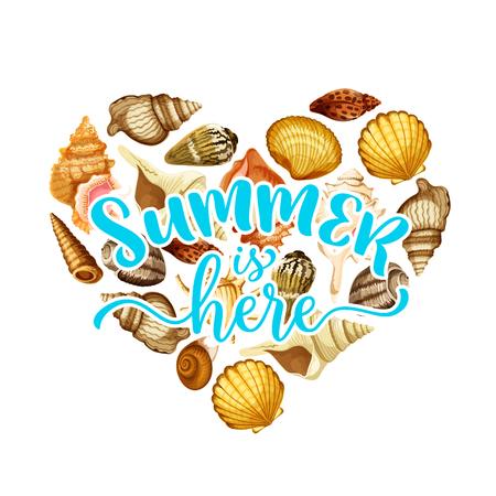 Summer beach seashell heart greeting card design Illustration