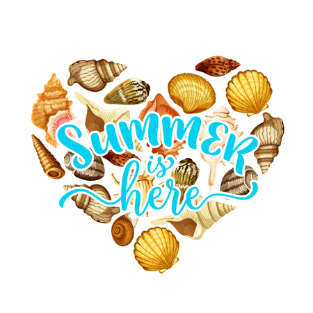 Summer beach seashell heart greeting card design Çizim