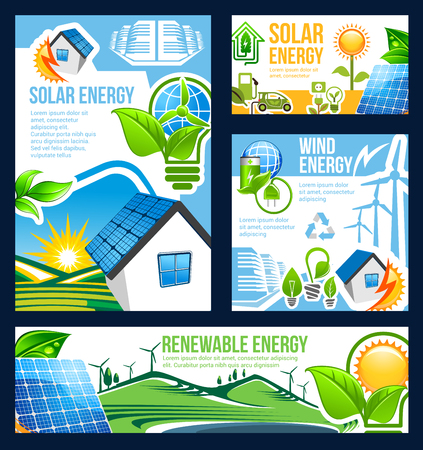 Green eco energy banner set of solar, wind and hydro power technology. Ecology and environment friendly solar panel, wind turbine and hydro power station poster for renewable energy themes design
