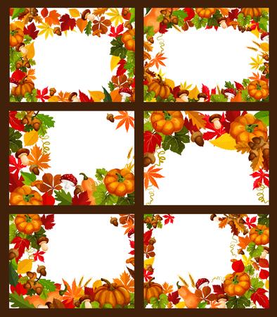 Autumn season leaf and fall nature frame poster