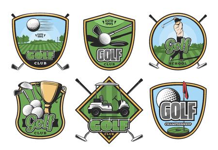 Golf sport retro badge with club, ball and golfer