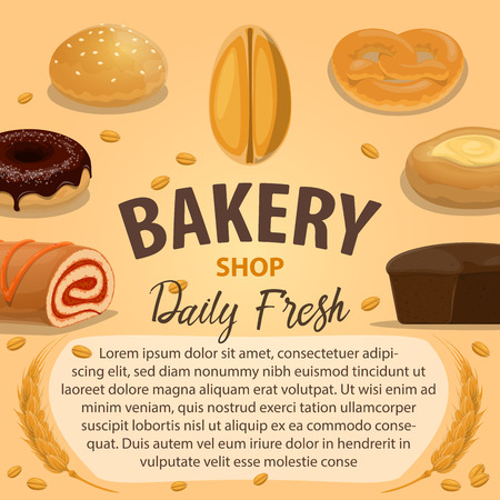 Bakery product poster with wheat bread and pastry Illustration