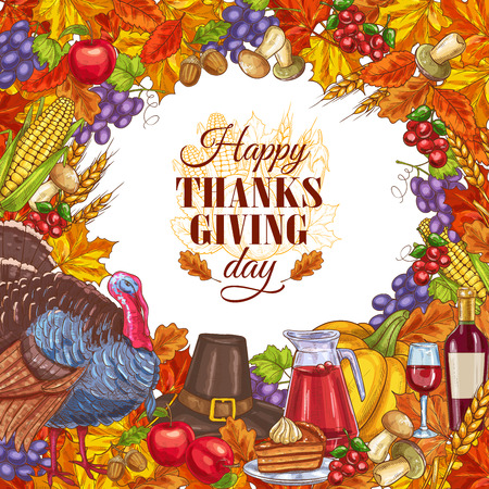 Thanksgiving greeting card with vegetables Illustration