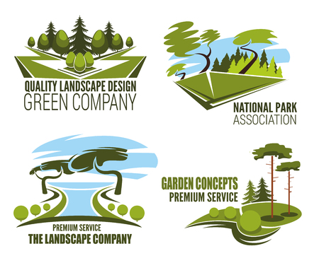 Landscape design company icon of green tree nature 矢量图像