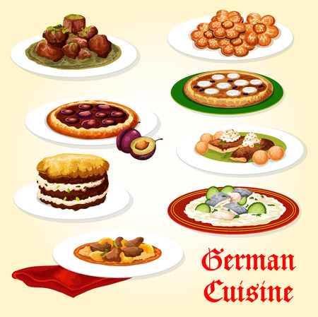 German cuisine icon of dinner dish with dessert