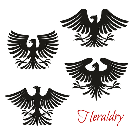 Heraldic eagle symbol set of bird with open wing. Black eagle, falcon or hawk with spread wing and tail feather isolated icon for tattoo, insignia, medieval coat of arms and heraldry themes design Banque d'images - 115115473