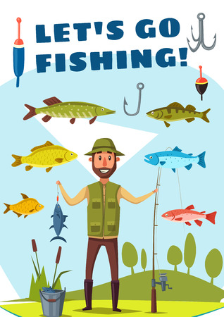 Fisherman with rod and fish catch for Lets Go Fishing poster template. Fisher standing on river bank with spinning, hook and bait, surrounded by salmon fish, carp and pike for fishing sport design Ilustração