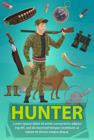 Hunter with rifle, dog and equipment banner. Huntsman in camouflage clothes and cartridge belt standing with gun, knife and compass, binocular, hunting horn, trap and tent for hunting sport design
