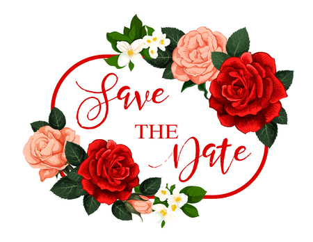 Save the Date flower frame for wedding invitation Illustration