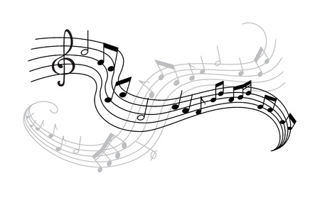 Musical note and treble clef on swirling stave icon. Musical notation symbol of classic music composition or song melody with shadow for music themes design Ilustração