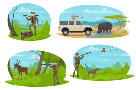 Hunting sport icon with hunter aiming rifle at forest and african safari animal. Huntsman with shotgun and dog hunting duck, elk, boar and hippo for hunter club symbol or hunting season opening design