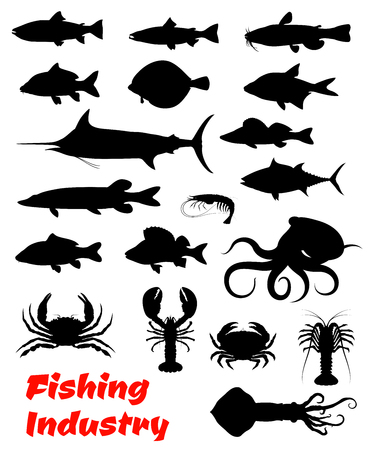 Fish and seafood black icon for fishing design Stok Fotoğraf - 104209357