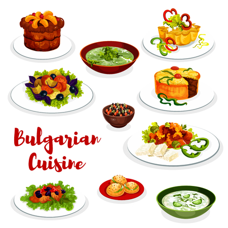 Bulgarian cuisine healthy food icon with vegetable and meat dish. Vegetable salad, fried pepper with cheese and bean beef stew, cucumber yogurt soup tarator, spinach soup, fruit cupcake and pie Ilustração