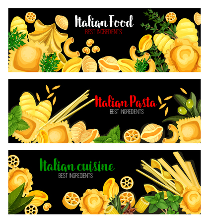 Pasta with herbs banner of Italian cuisine design