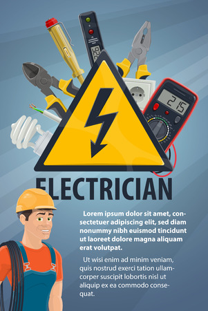 Electrician with electrical equipment, tool banner Stock fotó - 104209361