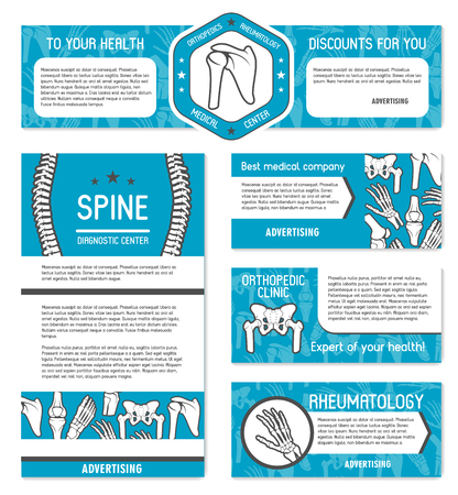 Medical banner set of orthopedics and rheumatology medicine template. Human skeleton bone and joint poster with spine, hand and knee, leg, hip and foot anatomy for diagnostic center or hospital design