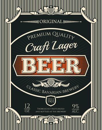 Étiquette de bouteille de boisson alcoolisée de bière de la bière artisanale de la brasserie bavaroise. Bannière rétro de bière, de bière blonde ou de bière avec bordure de cadre de branche vintage de défilement et de houblon pour la conception d'emblèmes de bar, de pub ou de brasserie Vecteurs