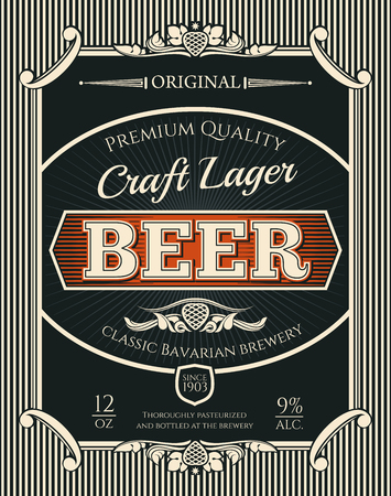Beer alcohol drink bottle label of bavarian brewery craft lager. Beer, lager or ale retro banner with frame border of vintage scroll and hop branch for bar, pub or brewery emblem design