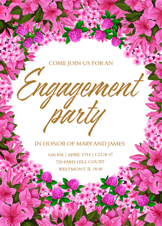 Engagement party invitation template with floral frame. Spring flower border of pink phlox, clover and azalea blossom, green leaf and text layout in center for wedding ceremony themes design Illustration