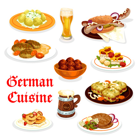 German cuisine dinner icon with Oktoberfest food  イラスト・ベクター素材