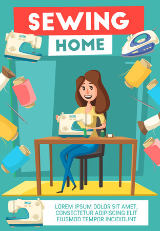 Woman sewing with sewing machine banner. Housewife sewing clothes at home cartoon poster, edged by thread, needle and iron for needlework hobby or household chore themes design Standard-Bild - 115115486