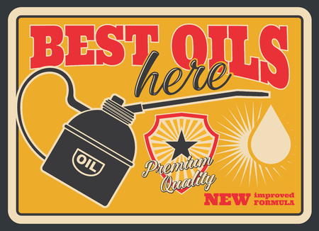 Motor oil retro poster for car service or gas station template. Vintage engine oil can pourer with drop old grunge banner, decorated with Premium Quality shield badge for oil change shop design