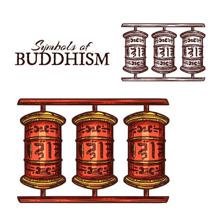Buddhism religion symbol of Buddhist prayer wheel