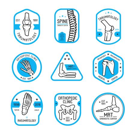 Etiqueta de traumatología, reumatología y ortopedia Ilustración de vector
