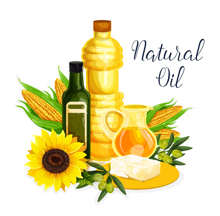Organic oil poster with olive, corn and sunflower 版權商用圖片 - 104209366