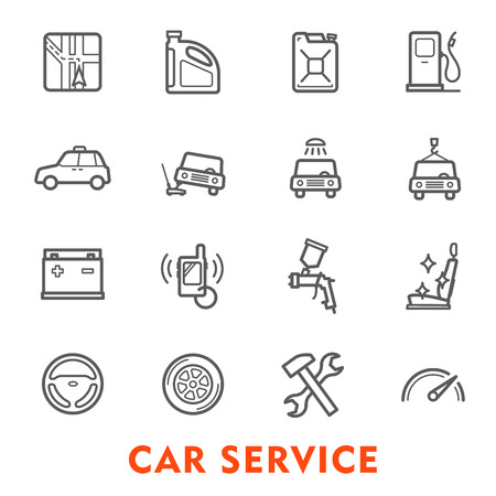 Car service thin line icon set for auto repair and maintenance station. Wheel, engine and motor oil, battery, speedometer and navigation system, spanner, gasoline pump and car wash isolated symbol