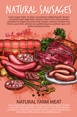 Sausage banner with beef and pork meat product