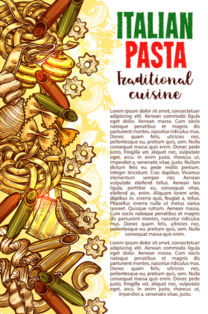 Pasta sketch banner with Italian macaroni border