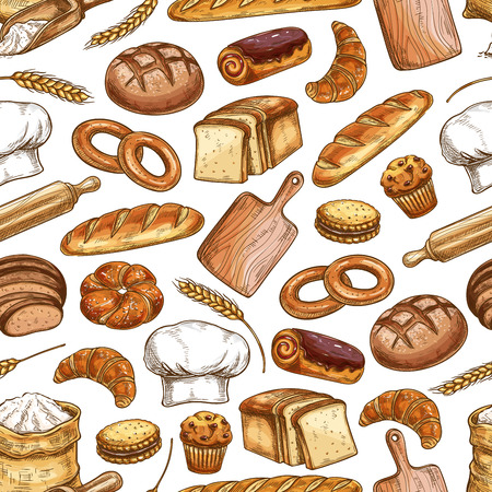 Bread and pastry food seamless pattern background