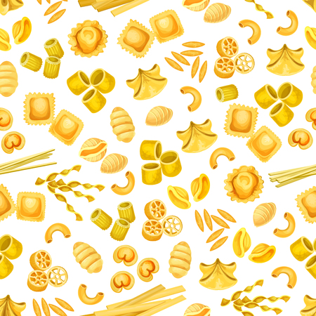 Italian pasta seamless pattern for food design Illustration