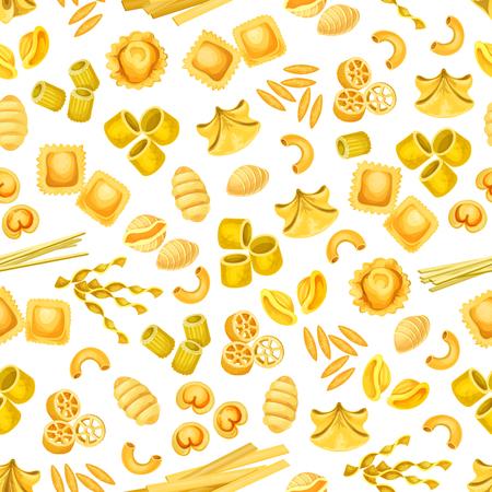 Italian pasta seamless pattern for food design Illustration
