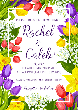 Wedding ceremony invitation card with spring flower frame border. Tulip, daffodil and lily of the valley floral bouquet with green leaf and blooming plant for marriage celebration party banner design