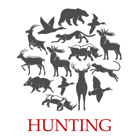 Hunting sport poster of forest and african animal Illustration