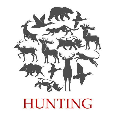 Affiche de sport de chasse de forêt et animal africain