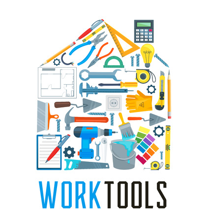 House silhouette with repair work tool icon. Hammer, screwdriver and spanner, pliers, drill and wrench, paint, brush and saw, tape measure, trowel and socket, spatula, ruler and saw in shape of home Illustration