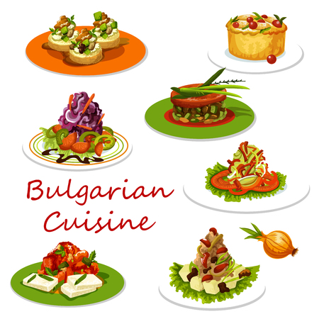 Bulgarian cuisine icon of meat and vegetable dish Standard-Bild - 104209376
