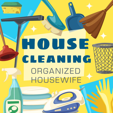 House cleaning poster with cleaning item frame. Spray, brush and sponge, detergent bottle, mop and glove, broom, soap and bucket, laundry, duster and iron, plunger and scraper cartoon banner design 版權商用圖片 - 115115495