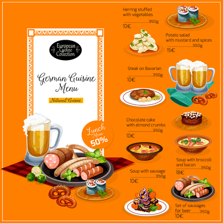 German cuisine restaurant lunch menu with beer and sausage. Potato salad, fish roll with vegetable and beef steak, soup with sausage and bacon, pretzel and chocolate cake dishes with price list