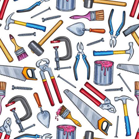 Reparatie werk tool naadloze patroon achtergrond