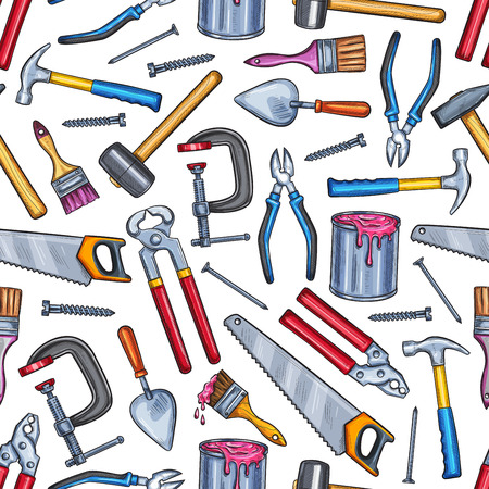 Repair work tool seamless pattern background